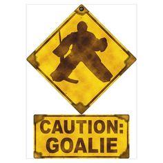 Hockey Goalie Caution Sign Pillow Case by Brando - CafePress Field Hockey Goalie, Goalie Gear, Goalie Mask, Hockey Room, Women's Hockey, Hockey Stuff, Hockey Stick Crafts, La Kings Hockey, Hockey Boards