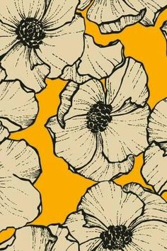 Ideas Wallpaper Floral Farm Rio For 2019 Illustration Blume, Collage Illustration, Surface Pattern Design, Pattern Art, Yellow Pattern, Trendy Wallpaper, Wallpaper Backgrounds, Wall Wallpaper, Motif Floral