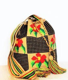 wayuu mochila bag floral pattern