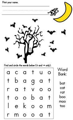 Sight-Word-Search Halloween Word Search, Halloween Words, Kindergarten Math Worksheets, Preschool Learning, Learning Activities, Halloween Activities For Kids, Toddler Activities, Nightmare Before Christmas, Bullet Journal