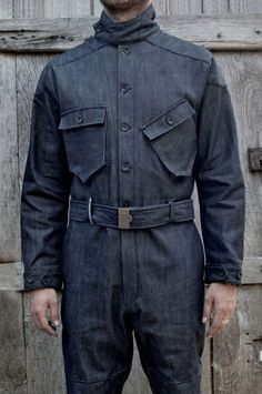 Bonneville Red Selvedge Denim Coverall in Indigo from El Solitario MC. Denim Boots, Boiler Suit, Denim Fashion, Work Wear, Menswear, Casual, How To Wear, Shirts, Clothes