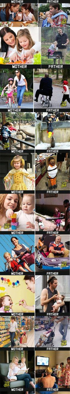 #Mothers Vs #Fathers doing various activities #fathersDay