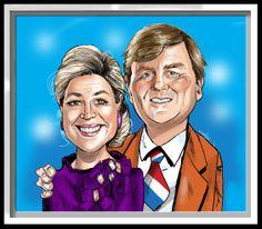 Karikatuur van Koning Willem Alexander en Koningin Máxima Zorreguieta getekende door Christel Schols sneltekenaar