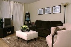 Small Living Room Ideas I like the idea of putting a curtain between the living room and dining are, pulled back to the wall, in a very bright color.-stephanie