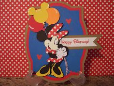"We have another fun challenge happening this week over at FCCB! This weeks challenge is called "". Disney Birthday Card, Cricut Birthday Cards, Cricut Cards, Disney Scrapbook Pages, Scrapbook Cards, Scrapbook Layouts, Mickey Mouse And Friends, Minnie Mouse, Disney Diy Crafts"