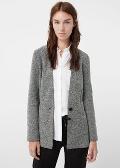 Textured cotton blazer - Jackets for Women | MANGO USA