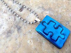 Handmade Autism Jewelry - Autism Pendant - Autism Necklace - Autism Awareness Puzzle Piece Pendant - Autism Tile Pendant on Etsy, $15.00