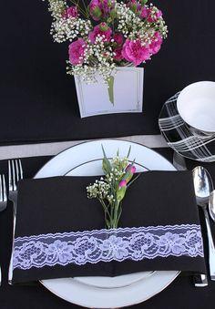 Black Table Linen Set Special 12 Black Napkins 20 x 20