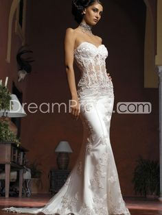 Modest Strapless Sweetheart Lace Wedding Dress For Cheap