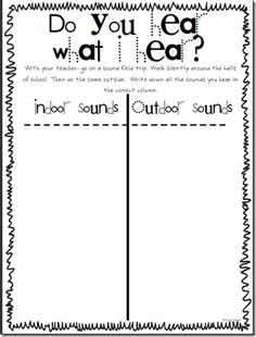 Worksheet Sound Science Worksheets field trips the school and fields on pinterest indoor sounds outdoor could use with