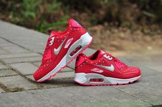 the best attitude 233b9 240f1 Femmes Nike Air Max 90 Peach Rouge Argent Blanc