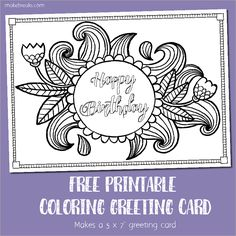 Free downloadable adult coloring greeting cards pinterest adult free printable birthday coloring card by kate pullen this free printable birthday card features m4hsunfo