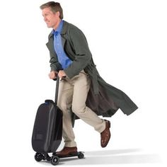 Samsonite Micro Suitcase Scooter - Best Wheeled Carry On Luggage. A Scooter! Micro Scooter, E Mobility, Mobility Scooters, Hammacher Schlemmer, Cool Technology, Cool Inventions, Tech Gadgets, Fun Gadgets, Travel Gadgets