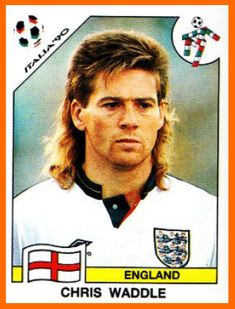 Chris Waddle of England. 1990 World Cup Finals card. Football Icon, World Football, Football Fans, Fifa World Cup 1990, 1966 World Cup Final, British Football, National Football Teams, England International, International Football