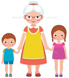 Grandmother with glasses and an apron holding the hands of their young grandchildren boy and girl vector illustration