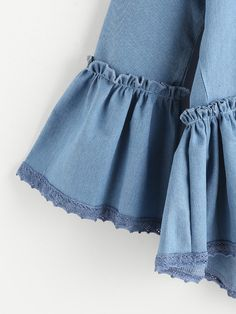 Shop Blue Ruffle Trim Bell Sleeve High Low Denim Top at ROMWE, discover more fashion styles online. Kurti Sleeves Design, Sleeves Designs For Dresses, Kurti Neck Designs, Dress Neck Designs, Sleeve Designs, Blouse Designs, Pakistani Fashion Casual, Muslim Fashion, Abaya Fashion