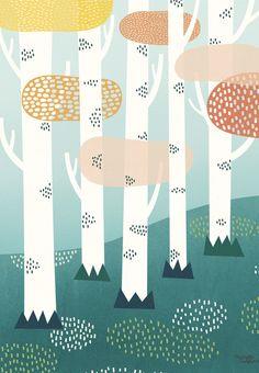 Michelle Carlslund Illustration Forest Print Poster, x Forest Illustration, Landscape Illustration, Children's Book Illustration, Watercolor Illustration, Kids Poster, Poster S, Poster Prints, Wallpaper Paisajes, Illustrator