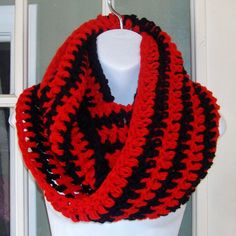 Black and red striped  infinity cowl scarf by MatsonDesignStudio, $24.00