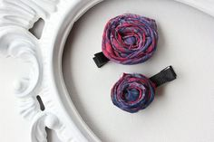 Pink Purple and Blue Fabric Hair Clip Flower Set by BabyGeneration, $3.50