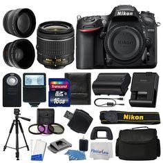 Nikon D7200 Digital SLR Camera 18-55mm VR II 3 Lens Kit 16GB More Great Value