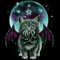 Shop Cosmic Purrrcraft cthulhu t-shirts designed by as well as other cthulhu merchandise at TeePublic. Crazy Cat Lady, Crazy Cats, Day Of The Shirt, Gothic Shirts, Cthulhu, Cat Art, Decoration, Cosmic, Funny Animals