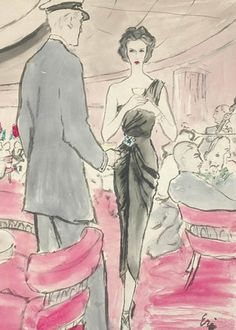 Eric Carl Ericson Original Vogue Illustration   Gouache on paper of woman in in restaurant wearing black one shoulder dress with brooch, signed, 21 3/4 x 15 3/4 inches.   Excellent condition.