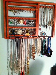HOLIDAY SPECIAL READ - Jewelry Organizer - Earring Holder, Holds 96 Pairs. 13 Peg Necklace Holder. Wall Mount Jewelry Holder, Sedonna Red. $32.95, via Etsy.