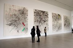 Installation view of Julie Mehretu's Mogamma (A Painting in Four Parts) , at Documenta Kassel, Germany. Abstract Drawings, Abstract Art, Land Art, Documenta Kassel, Claude Monet, Women Artist, Art Criticism, Street Art, Action Painting