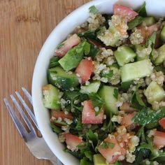 Jennifer Aniston's Favorite Quinoa Salad Recipe Salads with quinoa, water, flat leaf parsley, persian cucumber, tomatoes, avocado, extra-virgin olive oil, salt, pepper