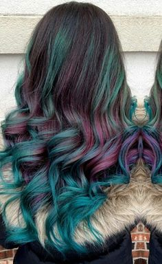 Burgundy teal two tone dyed hair