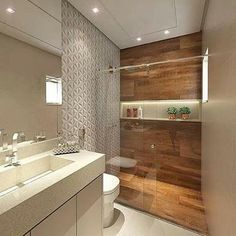madeira no banheiro; como usar madeira no banheiro; madeira no banheiro dentro Wood Bathroom, Bathroom Interior, Modern Bathroom, Bathroom Lighting, Bathroom Ideas, Bathroom Pink, Bathroom Layout, Bad Inspiration, Bathroom Inspiration