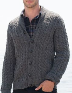 Free Knitting Pattern for Hey Handsome Cardigan - Long-sleeved sweater with mirrored cables and shawl collar. Men's sizes XS to 5XL. Designed by Yarnspirations