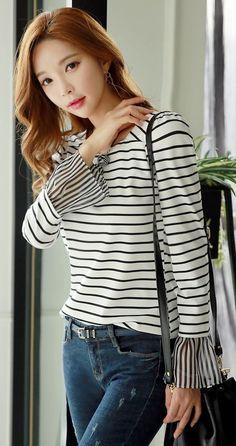 StyleOnme_Stripe Square Neckline Chiffon Sleeve Tee #blackandwhite #stripe #chiffon #sleeve #tee #koreanfashion #dailylook #casualwear #everyday