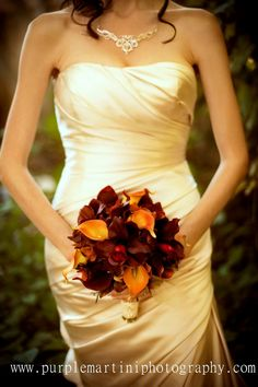 Autumn wedding bouquet real touch orchids calla lilies red orange brown wedding flowers on Etsy, $130.00