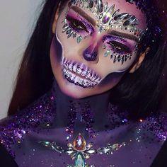 "I like it # 446 # Bad, # 12 # Comments # – # (@ treasuremakeup) # in # ""W # # # # # ✨ happy halloween … "" - Makeup Amazing Halloween Makeup, Halloween Kostüm, Halloween Face Makeup, Makeup At Home, Makeup Art, Mehron Makeup, Dead Makeup, Sugar Skull Makeup, Fantasy Makeup"