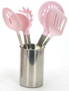 7 Piece Kitchen Cooking Utensil Set In Pink Utensils