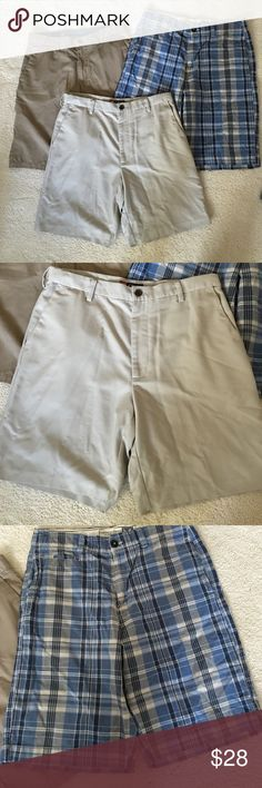 Lot of 3 pairs of men's/teens shorts - SZ 32-34 3 pairs of men's/teens shorts - 1) Volcom SZ 33 dark tan, 2) American Eagle SZ 32 blue plaid & 3) Chaps by Ralph Lauren SZ 34 beige. These are in good used condition. Volcom Shorts Flat Front