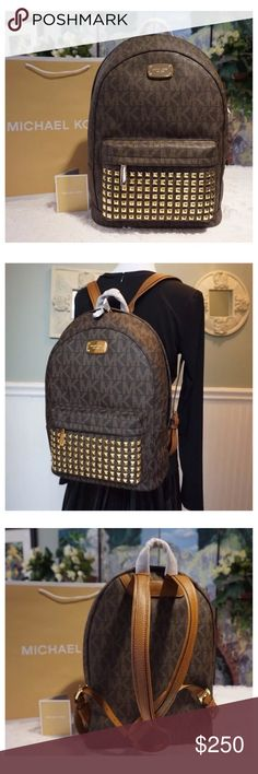 """NWT MK Jet Set Large Studded Backpack - Brown Guaranteed Authentic!  Adjustable leather shoulder backpack straps approx. 14"""" - 20"""" drop Product Features:  Made of Vanilla PVC with genuine leather trim Approx. 12"""" x 15"""" x 6.5""""  7 rows of high polished pyramid studs Gold tone MK logo plaque and hardware Zip Closure Top tab leather handle approx. 3"""" drop Adjustable leather shoulder backpack straps approx. 14"""" - 20"""" drop Interior has zip, cell phone, and multi-function pockets  Exterior zip…"""