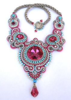Crimson Rapture Soutache necklace in Fuchsia, Turquoise and Silver