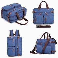 Clean Vintage's Original Messenger Bag- Hybrid Briefcase Backpack Laptop Messenger Bag- Blue