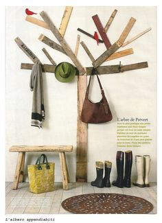 Here's a creative way to liven up the entry. recycled wood creations from marie claire idees. Salvaged Wood, Recycled Wood, Repurposed Wood, Tree Coat Rack, Coat Racks, Wood Tree, Organic Living, Kids Room, Recycling