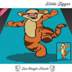 Little Tigger crochet blanket pattern; knitting, cross stitch graph; pdf download; Winnie pooh; no written counts or row-by-row instructions by TwoMagicPixels, $3.79 USD