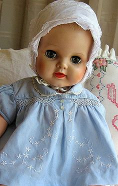 pretty vintage baby doll wearing blue vintage dress with white embroidery | Flickr - Photo Sharing!