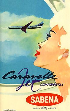 Air Sabena Girl Caravelle Jet Continental Belgium - Mad Men Art: The 1891-1970 Vintage Advertisement Art Collection