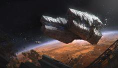 Derelict Ship by Hakob Minasian on ArtStation. Spaceship Design, Spaceship Concept, Concept Ships, Concept Art, Ulysse 31, Cyberpunk, Sea Of Stars, 70s Sci Fi Art, Space Battles