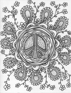 ☮ American Hippie Art Coloring page ☮  Peace