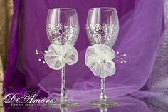 Silver copas de vino de la boda / de la boda de tostado gafas / vidrios de la boda