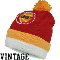 Mitchell & Ness Houston Rockets Throwback Jersey Cuffed Knit Hat - Red/Gold