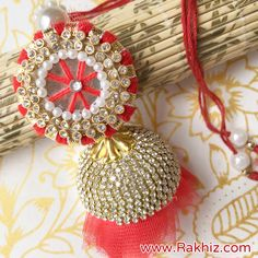 Diamond Crafted Red Lumba For Bhabhi Send Rakhi To India, Buy Rakhi Online, Handmade Rakhi Designs, Saree Tassels Designs, Diy Storage Boxes, Princess Cut Diamonds, Paper Quilling, Online Gifts, Handmade Decorations