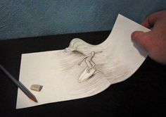 Italian artist Alessandro Diddi uses his creative talents to draw mind-bending illusions. The playful anamorphic works trick our eye into thinking that 3d Pencil Art, 3d Pencil Drawings, Easy Drawings, 3d Illusion Drawing, Illusion Art, Optical Illusions Drawings, 3d Drawing Tutorial, Anamorphic, Italian Artist